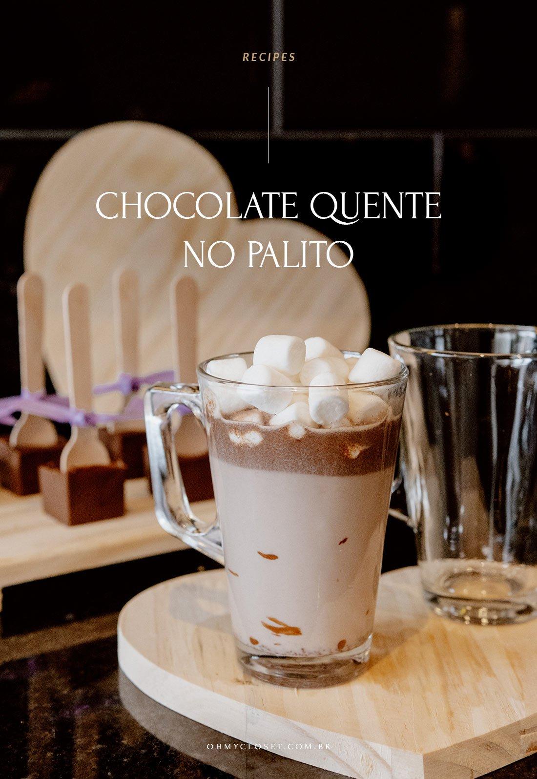 Receita de chocolate quente no palito.