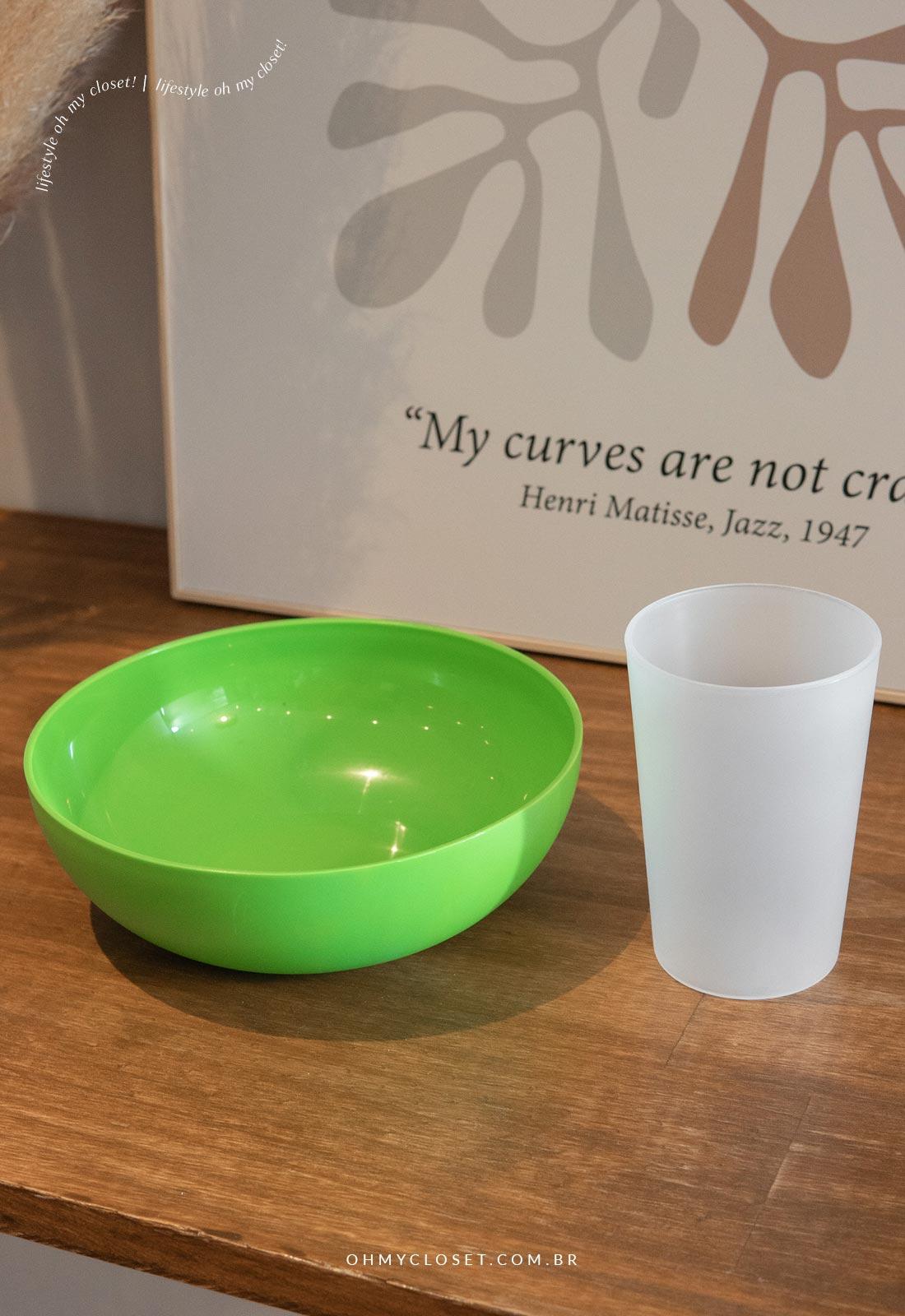 Bowl e copo para fazer o vaso escandinavo.