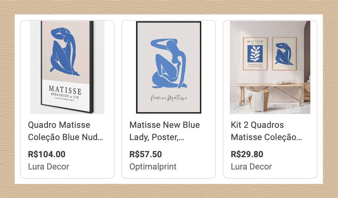 Blue nude de Henri Matisse. Reproduções digitais.